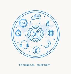 technical support thine line design vector image vector image