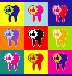 Tooth sign with thumbs up symbol pop-art vector