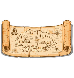 treasure map on roll paper vector image