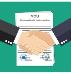 Two businessman handshake on mou memorandum vector
