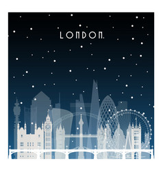 Winter night in london night city in flat style vector