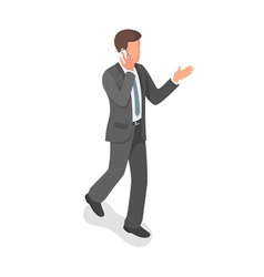 Isometric businessman talking on the phone vector