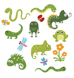Set funny reptiles vector