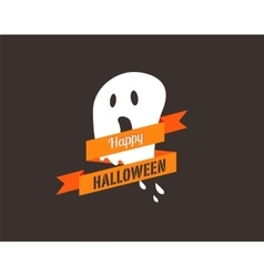 Halloween greeting card banner with ghost vector