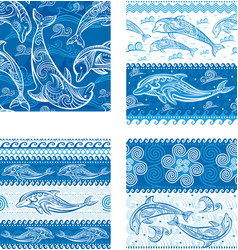 set of seamless pattern with dolphins vector image