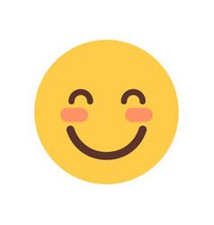 yellow smiling cartoon face shy closed eyes emoji vector image
