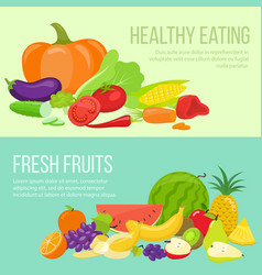 Fruit and vegetable banners vector