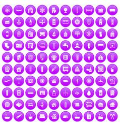 100 heating icons set purple vector