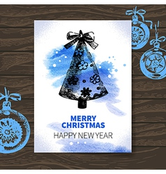 Watercolor Christmas hand drawn card vector image