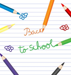Back to school with colored pencils over notebook vector image