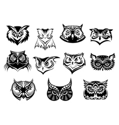 Large set of black and white owl heads vector