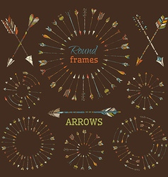 Arrows round frames and page dividers vector
