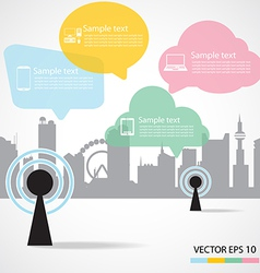 antenna and city background vector image