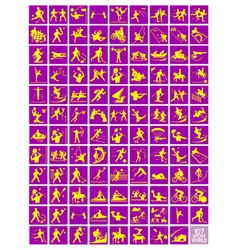 A set of yellow and purple sport icons vector