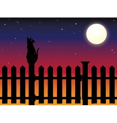 Cat sitting on picket fence post in moonlight vector