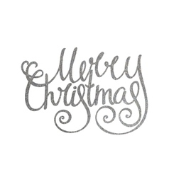 Silver handwritten inscription merry christmas vector