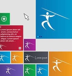 Summer sports javelin throw icon sign buttons vector