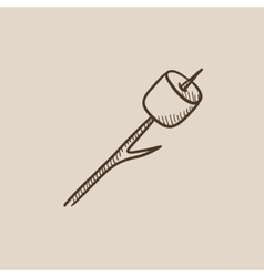 Marshmallow roasted on wooden stick sketch icon vector