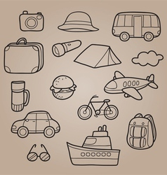 Travel outline icons set vector