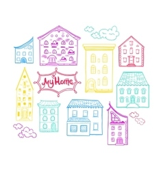 Houses and clouds color vector