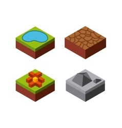 Lake stone flower grass desert icon isometric vector
