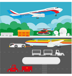 Airport flat details and elements vector