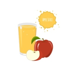 apple juice with red apple and slices vector image vector image