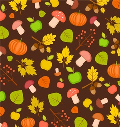 autumn seamless texture with pumpkins leaves vector image