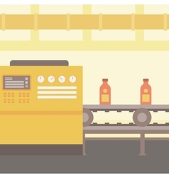 Background of conveyor belt with bottles vector