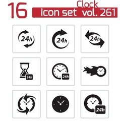black clock icons set vector image vector image