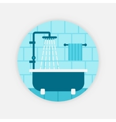 blue bath with shower vector image vector image
