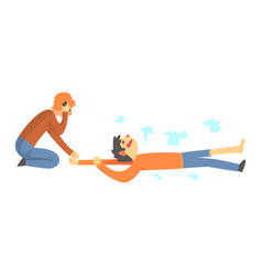 dead man after a car accident woman calling the vector image vector image