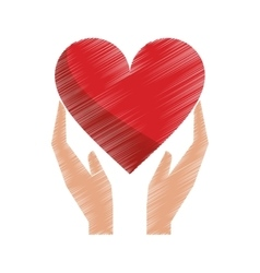 Drawing hands holds heart love care vector