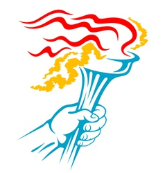 Flaming torch in hand for sports vector image