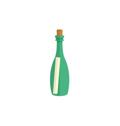 flat cartoon message letter scroll in glass bottle vector image