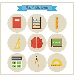 Flat school maths and physics icons set vector