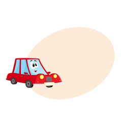 Funny red car character with human face surprised vector