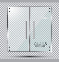 Glass doors on transparent background vector