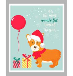 Holiday greeting card with cute corgi dog vector