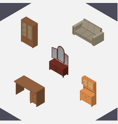 Isometric furniture set of cabinet table couch vector