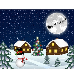 Landscape in the christmas night vector