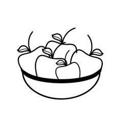 Line fresh and delicious fruits inside of bowl vector