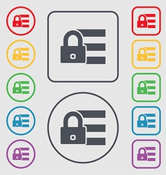 Lock login icon sign symbols on the round and vector
