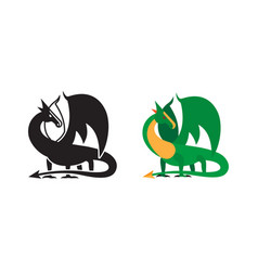 Medieval dragon icon and silhouette vector