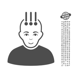 Neural interface icon with bonus vector