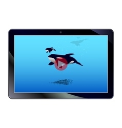 Online video on the tablet vector