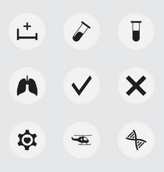 Set of 9 editable health icons includes symbols vector