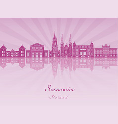 Sosnowiec skyline in purple radiant orchid vector