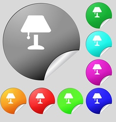 Table lamp icon sign set of eight multi colored vector