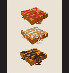 toasted bread with sauce hand draw sketch vector image vector image